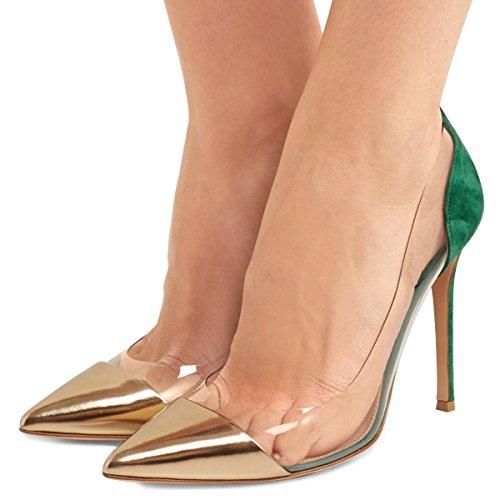 Pumps 15 Gold Clear Size Stiletto Green Slip FSJ Heels Dress Party 4 High Women Elegant Shoes Wedding US On CIRgq