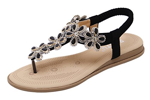 Agowoo Jeweled Platt Rem Walking Beach Rem Sandaler För Kvinnor Svart
