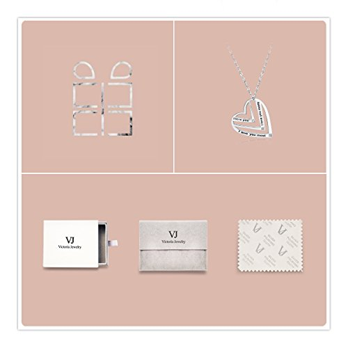 Victoria Jewelry ''I Love You,I Love You More,I Love You Most Engraved Pendant - 925 Sterling Silver Heart Necklace for Women by Victoria Jewelry (Image #4)