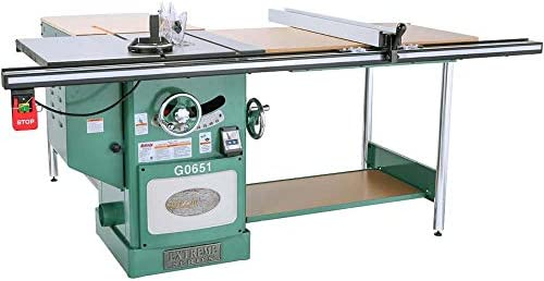 Grizzly Industrial G0651-10 3 HP 220V Heavy Duty Cabinet Table Saw with Riving Knife