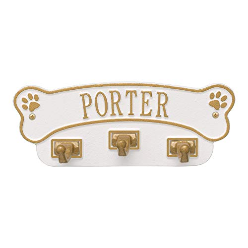 Whitehall Personalized Pet Name Dog Bone Wall Sign with 3 Leash Hooks - White/Gold