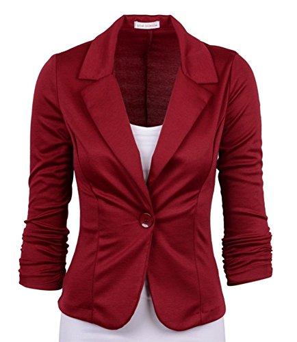 De Costume Un Blazer Wealsex Fit Ol Courte Jacket Bureau Coupe Coton Slim Blouson Veste Bouton Femme Bordeaux FxngnqXBY