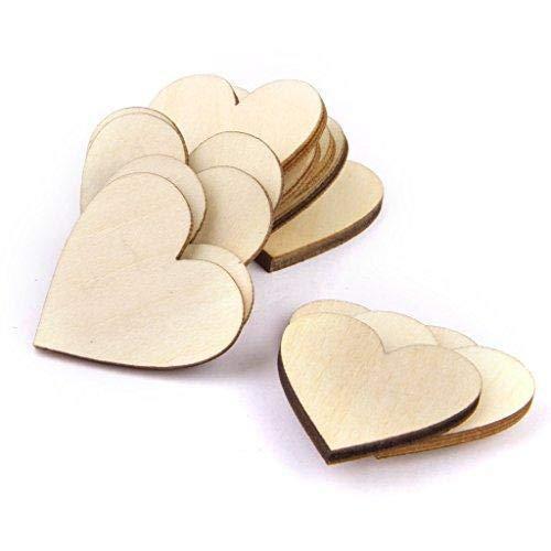 confezione da 50 Depory Plain decorazioni a cuore in legno per il fai da te 30/mm