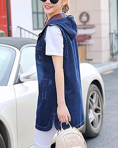 Women Baggy Lunga Eleganti Smanicato Tempo Fashion Giovane Gilet Donna Blu Libero Vintage Jeans Primaverile Jacket Autunno Outerwear Incappucciato fgRnxxwaq