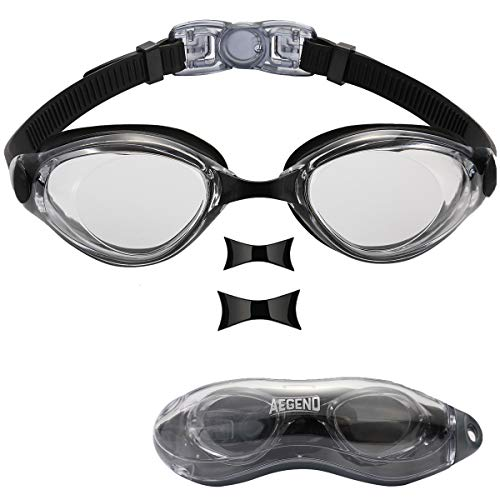Aegend Swim Goggles, Swimming Goggles of Flat Lens Replaceble Nose Piece for Men Women Adult Youth, Anti-Fog UV Protection Leak-Proof Triathlon Goggles with Protection Case, Clear