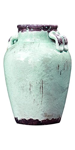 "Melrose 9.5"" Rustic Distressed Teal Ceramic Vase"