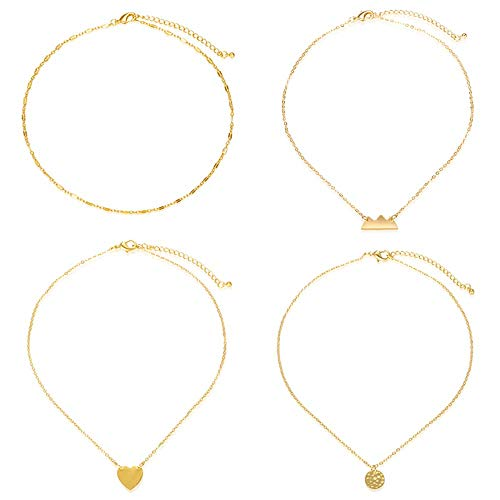 Gold Moon Heart Choker Necklace -4 pieces Set Pendant Handmade Adjustable Dainty Simple Necklace for Women