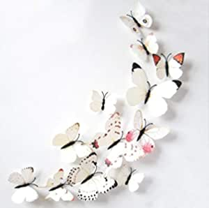 Magnetic white 3d Butterflies Art Decal House Room Decor Wall Mural Stickers 12pcs