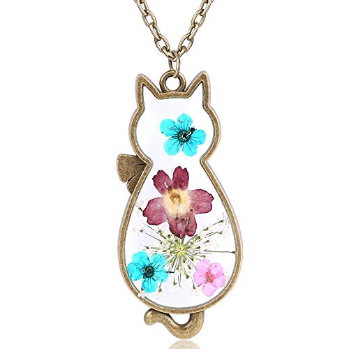 Jude Jewelers Retro Vintage Cat Shape Dry Flower Charm Pendant Necklace (Gold)