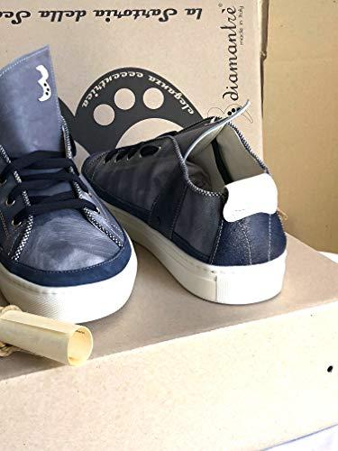 Italia in Elegante Blu Casual Uomo Fatte 100 con DIAMANTRE3 Mano Sneaker A Pelle xw8Fqp