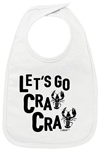 (Funny Baby Gifts Funny Baby Bibs Let's Go Cray Cute Crawfish Mardis Gras Baby Bib White )