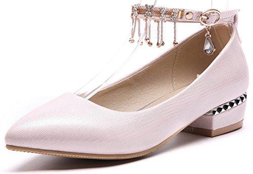 Idifu Kvinna Mode Diamant Spetsig Tå Ankelbandet Låg Topp Pumpar Skor Med Chunky Klackar Rosa