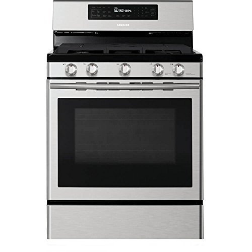 Chrome Self Cleaning Range (Samsung NX58H5600SS 30 In. Freestanding Gas Range with Custom Griddle and 5.8 Cu. Ft. Convection Oven, Stainless Steel)