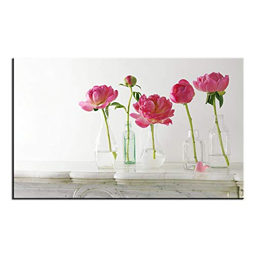 (Unframed Unstretched Modern HD Canvas Wall Art Passionate Peonies Flower Landscape Painting Printed on Canvas Home Decor Home Living Room(15x24inch) )