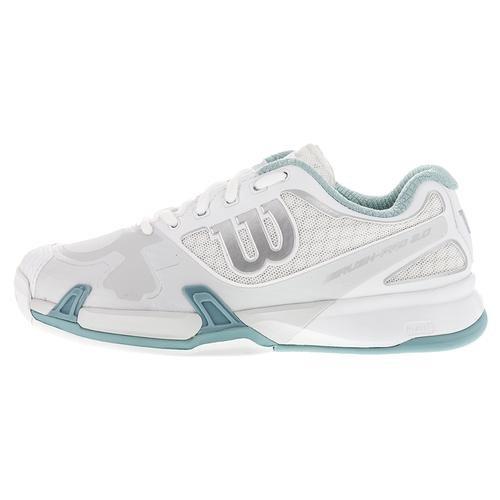 Wilson Women`s Rush Pro 2.0 Tennisschuhe Weiß / Eisgrau / Stillwater