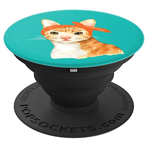 (Cool Cat in a Bandana - Crazy Cat Lady Gift - PopSockets Grip and Stand for Phones and Tablets)