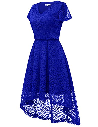 Hi Floral Lo Bbonlinedress Royal Flare Dress Sleeve Lace Cocktail Swing Blue Party V Neck Women's CXq4X