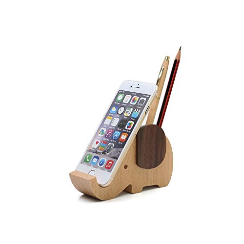 Future Wood Elephant Pen Holder Container With Phone Holder Desk Organizer ()