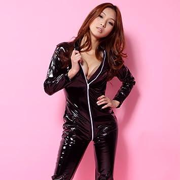 Japanese woman in leather bondage