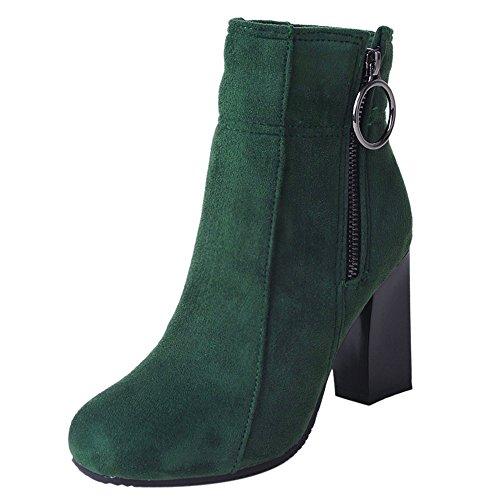 Zipper Green Women Heels COOLCEPT Boots wxTqf6Cax