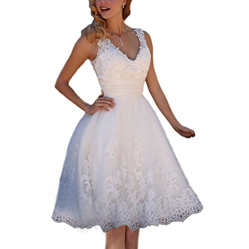 ABaowedding Short Beach Wedding Dress V Neck Lace Appliques Tulle Bridesmaids Dress