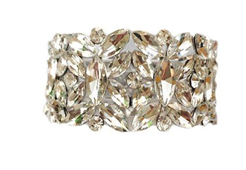 Silver Tone Imitation Diamond Cluster Wedding Bridal Formal Prom Vintage Antique Retro Deco Style Rhinestone Statement Cuff (Tiffany Diamond Bracelet)