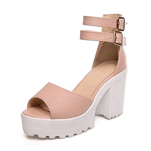 1TO9 Womens Buckle Chunky Heels Platform Urethane Heeled Sandals MJS02837 Pink nEgR7JB
