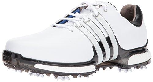 adidas Men's TOUR 360 2.0 Golf Shoe, White/Black, 10 Wide - Adidas Golf Boost Shoes