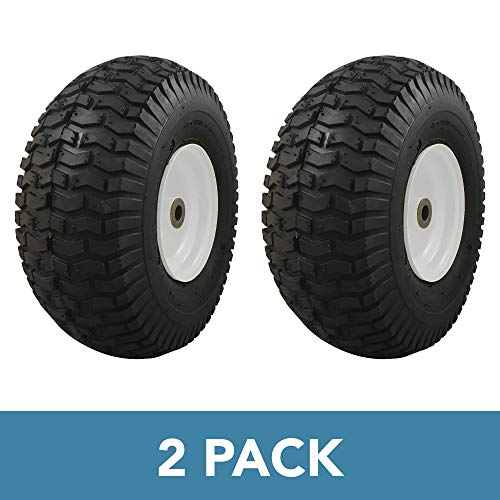 MARASTAR 20407-2pk 2 PACK-15x6.00-6 Universal Fit Riding Mower Front Tire Assembly, White Steel Wheel ()