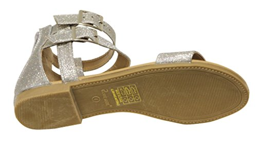 Anne Marie Glory-2K Kids double buckle decor straps contoured footbed cork sole comfort sandal slipper Black 10