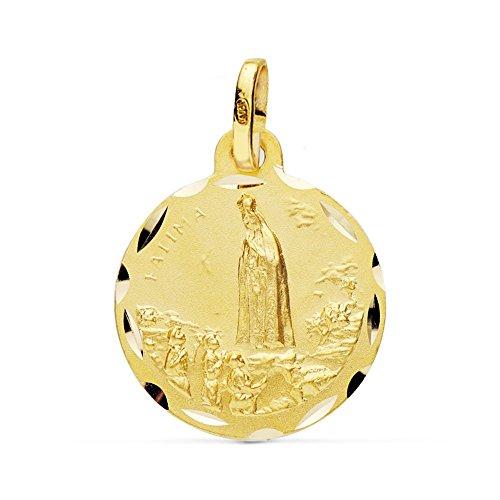 Médaille pendentif 18k 20mm en or Vierge Fatima. [AB0774]