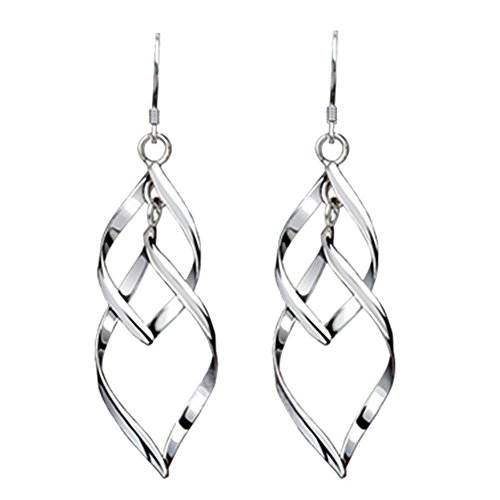 Sterling Silver Double Wave (Womens Classic Double Linear Loops Design Twist Wave Earrings for Women Girls (E-C65))