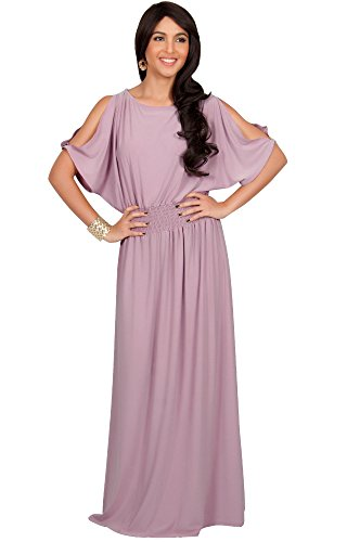 KOH KOH Womens Split Sleeves Smocked Elegant Cocktail Long Maxi Dress