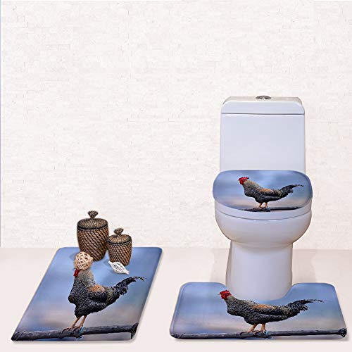 Bathroom Rug Mats Toilet lid Toilet Bath Mat, Colorful Rooster Outdoor Spring,3 Piece Set