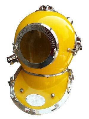 Modern Yellow Diving Helmet US Navy Anchor Engineering Divers Helmet Replica
