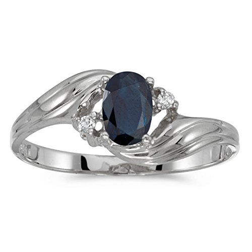 14k 6x4mm Oval Sapphire Ring (14k White Gold 6x4mm Oval Sapphire And Diamond Ring. Size 5)