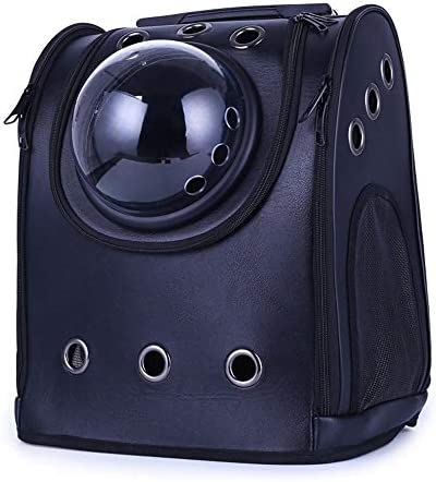 AXRXMA 新しいpuペットチェストバッグ猫アウトポータブル爆弾宇宙ペットバックパック (Color : Black)