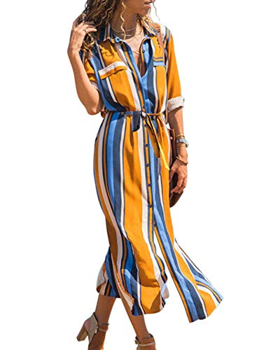 Asvivid Womens Casual Button Up V Neck Roll Sleeve Colorful Striped Split Work Maxi Shirt Dresses with Belt M Multi