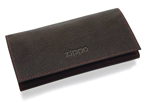 Zippo 2005130 Soft Brown Leather Tri-fold Tobacco Rolling Paper Pouch Holder