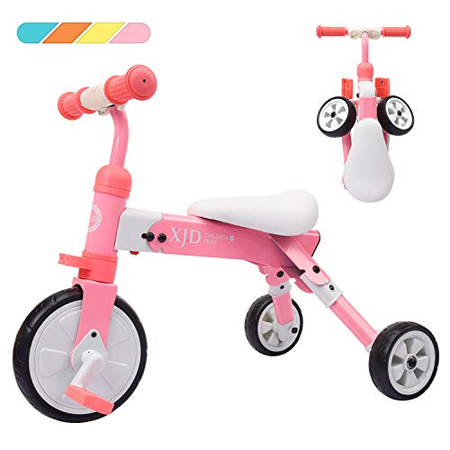 XJD 2 in 1 Kids Glide Tricycles Toddler Tricycle Baby Balance Bike Trike for 2 Years Old and Up Boys Girls Gift Kids Bike Trike Kids Tricycle 2-4 Years Old (Pink) ()