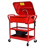 6 gallon parts washer - AyaMastro Red Rolling 20 Gallon Portable Parts Washer Cart Mobile Electric Solvent Pump Cleaner w/Drying Shelf