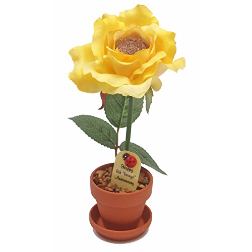 8th Wedding Anniversary Gift Potted Bronze-wool Rose