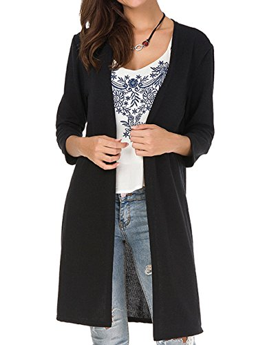 (Siteluoyi Womens Casual Knit 3/4 Sleeve Open Front Long Shirt Sweater Coat Cardigan Loose Jacket)