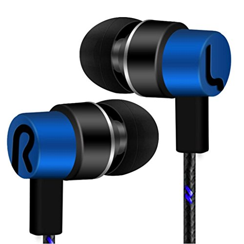 Universal 3.5mm In-Ear Stereo Wired Earbuds Earphone With 1.2M Knitted Cable,Built-in Hands-free Microphone,Tuscom (A Style:Blue)