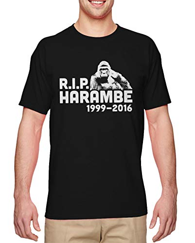 HAASE UNLIMITED R.I.P. Harambe 1999-2016 - Never Forgotten Men's T-Shirt (Black, Medium)