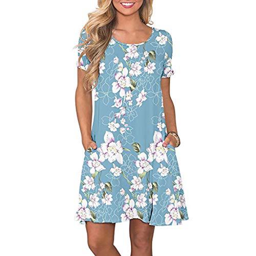 Yoonsoe Women's Summer Short Sleeve Dress Casual Floral Print Swing T Shirt Dress, Light Blue, XXL