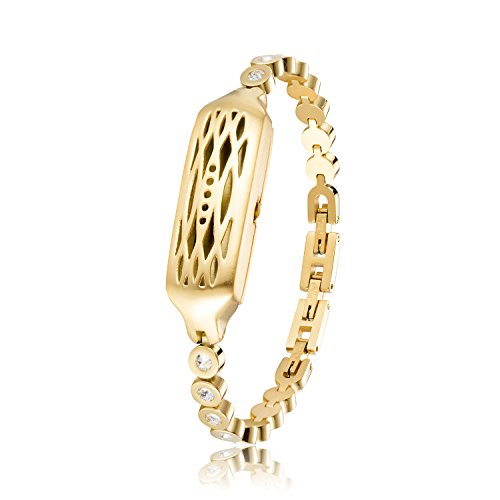 (WOCOOL Replacement for Fitbit Flex 2 Jewelry Swarovski Crystals Bangle 316L Metal Bracelet Compatible Flex 2 Bangle (Gold))