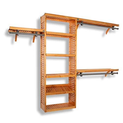 - John Louis Home 12-Inch Deep Premier Closet Organizer-Honey Maple Finish