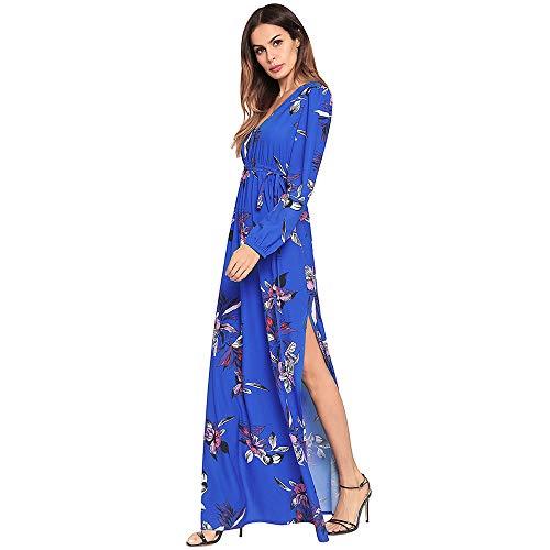 Cvbndfe Cómodo Vestido de Noche de Manga Larga para Mujer Cintura Alta Diseño Floral Vestido de túnica Vestidos de Fiesta Formales para Mujeres Elegante ...