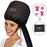 UPGRADED Soft Bonnet Hooded Hair Dryer Attachment W/ 10 Silicone Hair Curlers-Extra Large Adjustable Hood Bonnet With Extra Long Hose For Drying,Styling,Curling And Deep Conditioning All Hair Lengths